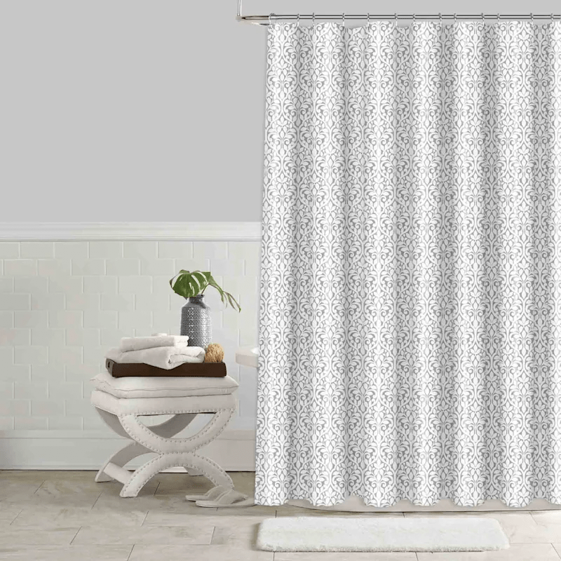 abby grey faux silk printed shower