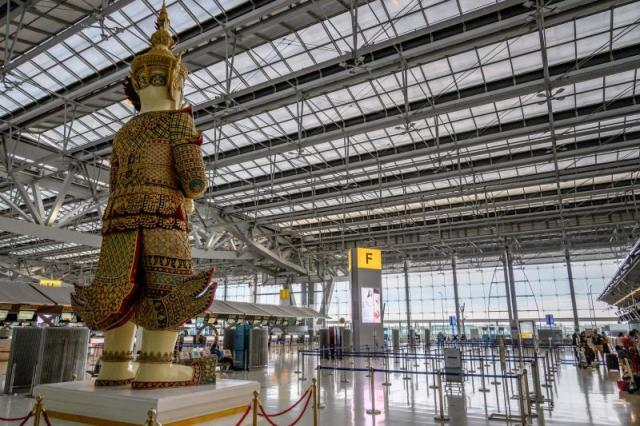 A view of the almost empty departure hall of Suvarnabhumi Airport in Bangkok on Saturday. (AFP photo)