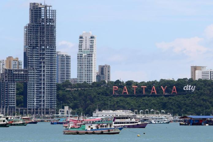 Tourist boats anchored at Pattaya Beach. Before the fresh outbreak flared up in Bangkok, hotels in Pattaya were fully booked.Wichan Charoenkiatpakul