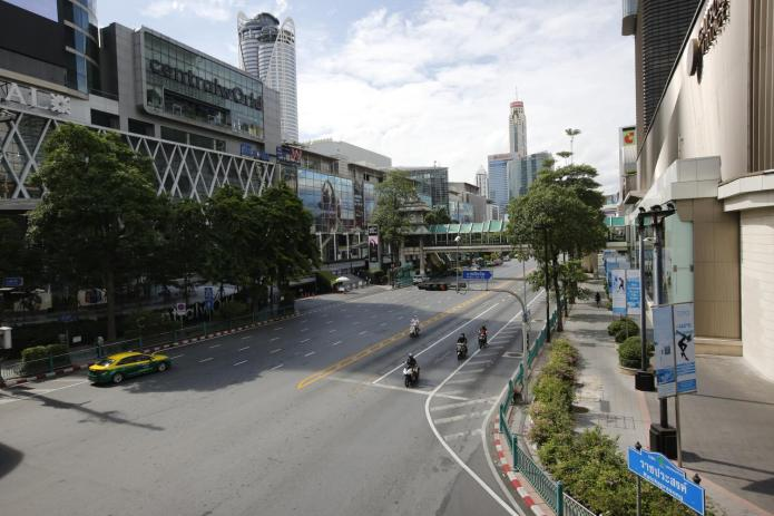 Ratchaprasong intersection in central Bangkok is void of traffic during the lockdown imposed to curb the spread of Covid-19. Wichan Charoenkiatpakul