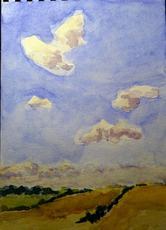 Building cumulus clouds. (Watercolor by Carol L. Douglas) Later I found out just how much more they could build.
