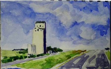 Grain elevator north of Saskatoon. Watercolor sketch from a moving car, by Carol L. Douglas.