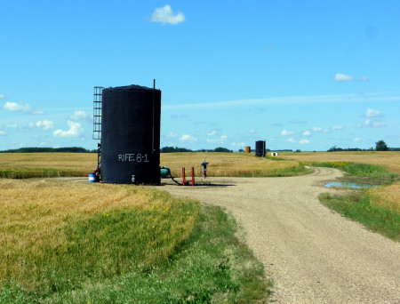 Natural gas tanks. The gas and oil industries in Saskatchewan beggar description.