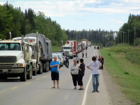 Chatting while the Alaska Highway was closed due to an accident.