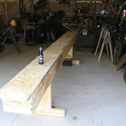 the strongback - a platform to build the canoe on