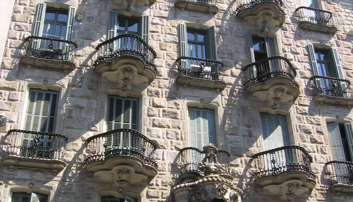 La Casa Calvet of Antoni Gaudi in Barcelona