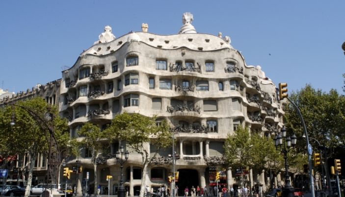 La Casa Mila in Barcelona named La Perdrera  by Antoni Gaudi