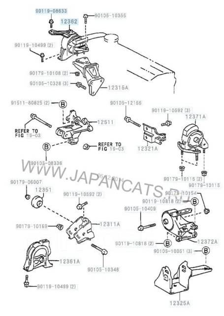 Подушка двигателя O. E. M. Toyota Corolla 12305-15040 RH