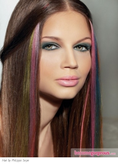 Rainbow Hair Highlights Makeup Tips And Fashion