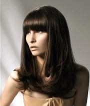 chic blunt bangs long hair styles