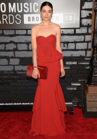 Crystal Reed Zac Posen Red Gown