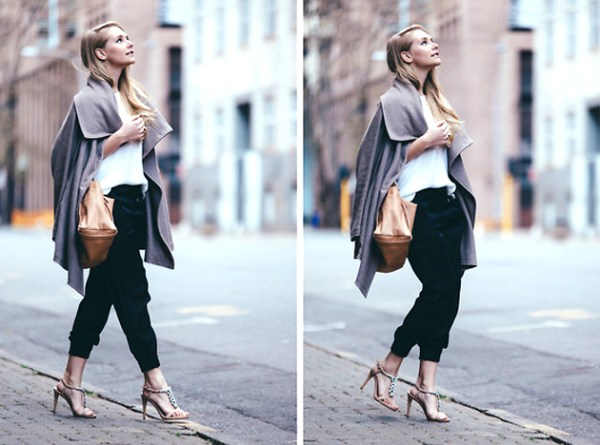 Jogger Pants With Oversized Cardigan