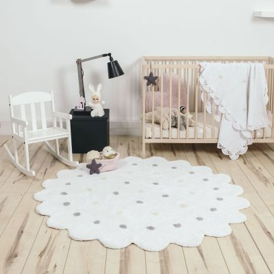 tapis petit biscuit blanc 140 cm