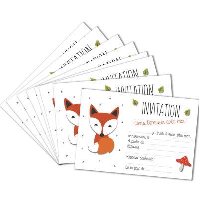 lot de 8 cartes d invitation renard