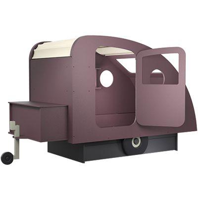 lit enfant caravane avec coffre timon finition laquee 7 coloris au choix