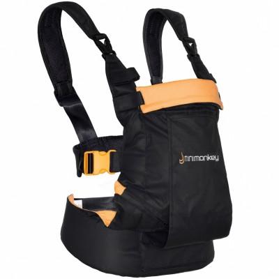 porte bebe ventral et dorsal dynamic noir et orange