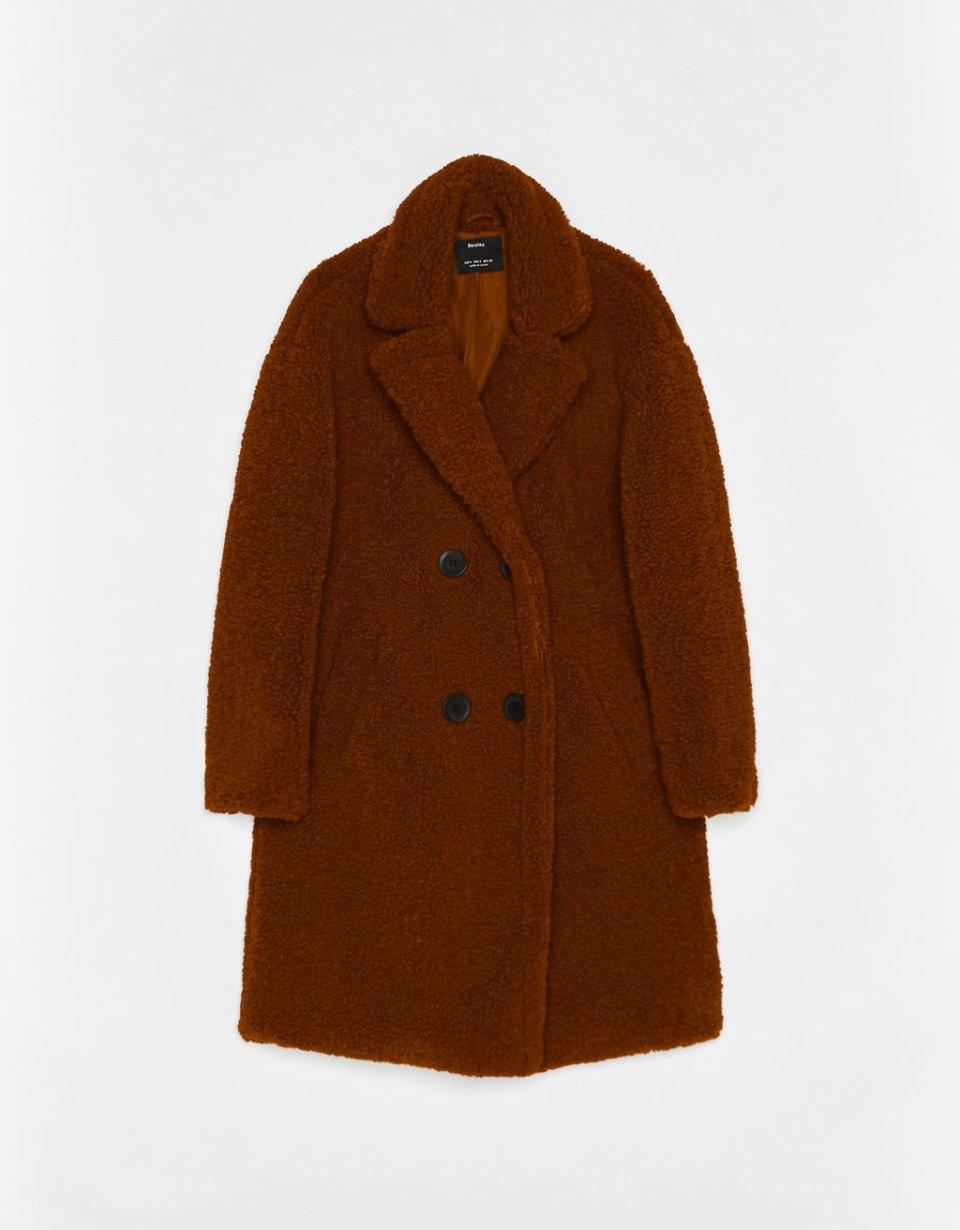 Manteau long croisé moutonné