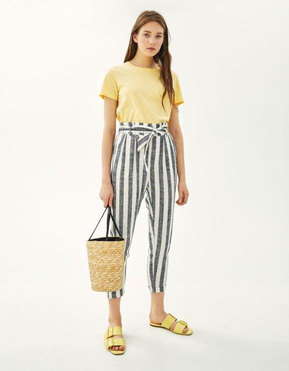 Pantalon paperbag en lin