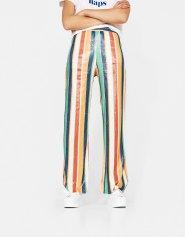 Pantalon large à rayures pailleté