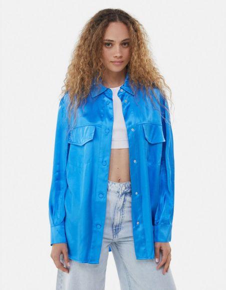 Satin overshirt-Blue- bershka