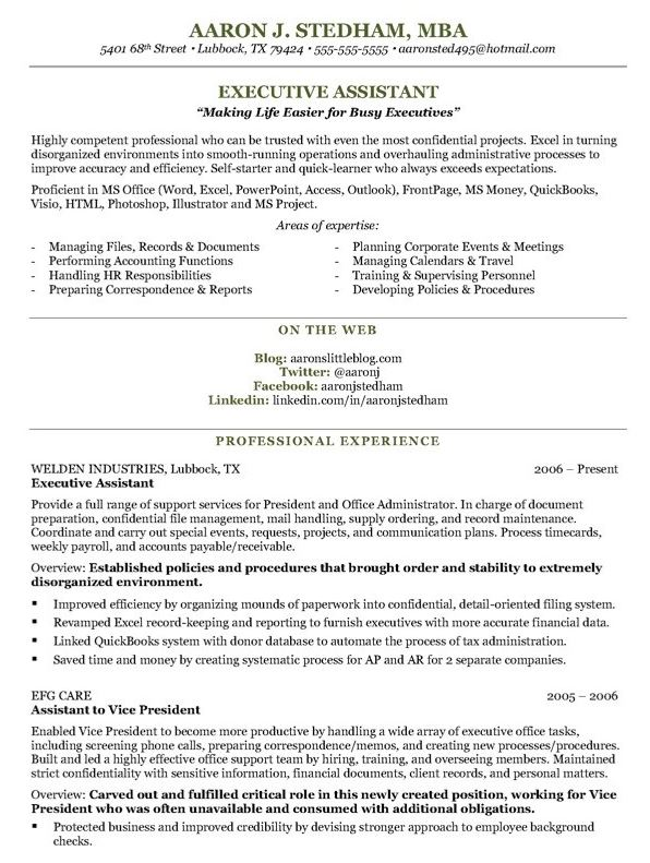 Executive Assistant Resume Samples And Tips