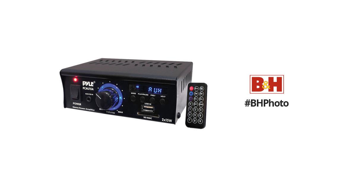 Pyle Pro PCAU15A Mini 2x15 Watt Stereo Amplifier PCAU15A B&H