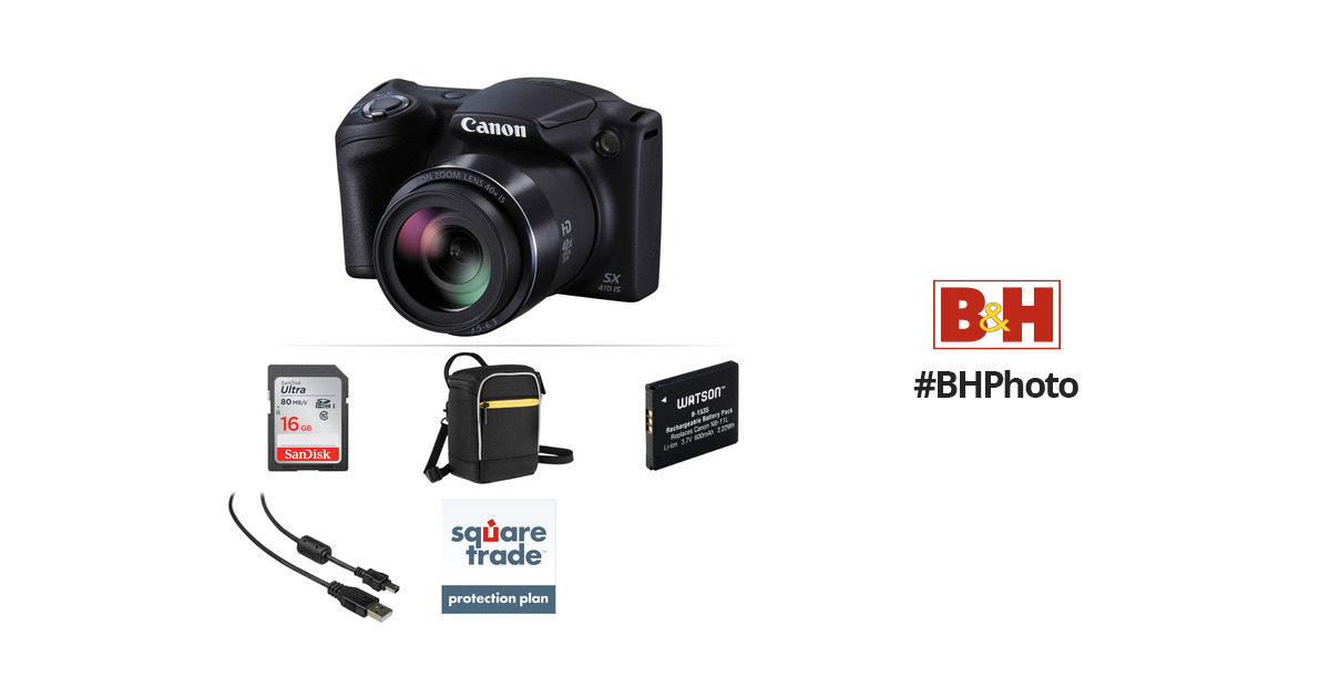 Canon PowerShot SX410 IS Digital Camera Deluxe Kit (Black) B&H