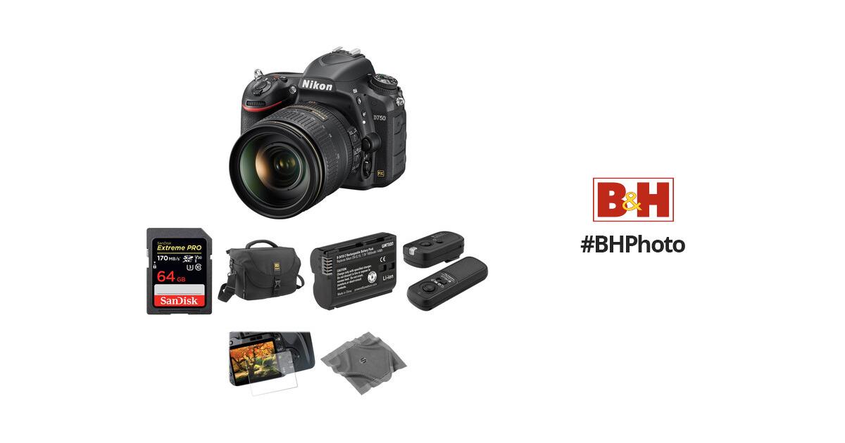 Nikon D750 DSLR Camera with 24-120mm Lens Basic Kit B&H Photo