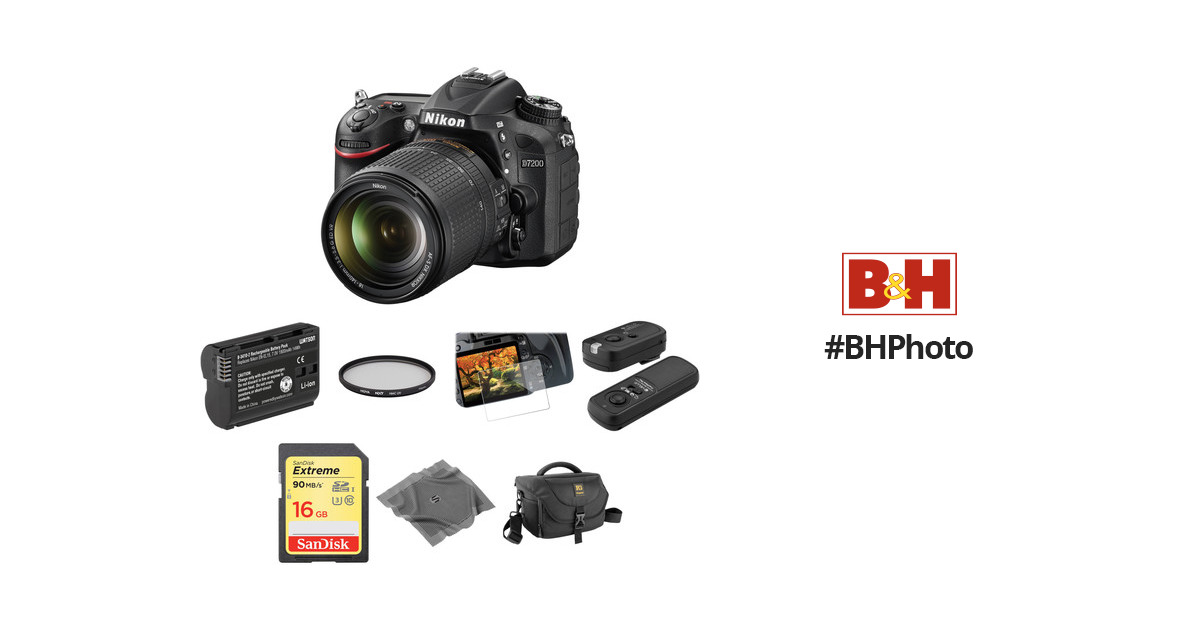 Nikon D7200 DSLR Camera with 18-140mm Lens Basic Kit B&H Photo