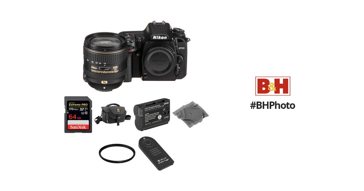 Nikon D7500 DSLR Camera with 16-80mm Lens Basic Kit B&H Photo
