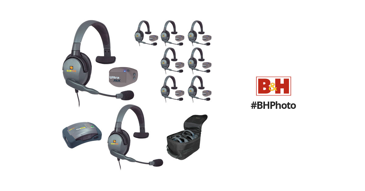 Eartec 1-Hub, 8 Ultrapak, 9 Max 4G Single Headsets and
