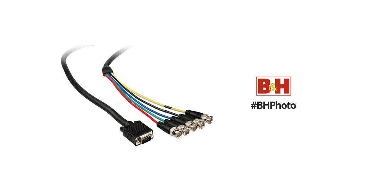 Comprehensive VGA 15-pin (HD15) Male to 5 BNC VGA15P-5BP-10HR