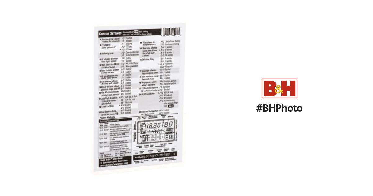 PhotoBert CheatSheet for Nikon F100 SLR Camera SB3-99 B&H