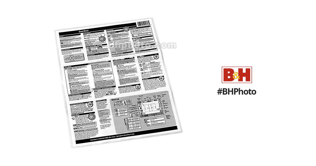 PhotoBert CheatSheet for Nikon N75 SLR Camera LB6-03 B&H Photo
