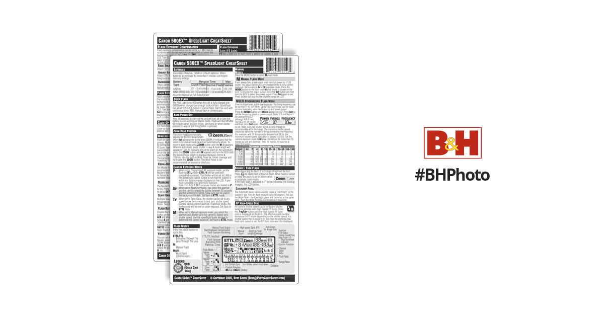 PhotoBert CheatSheet for Canon Speedlite 580EX LB46-04 B&H