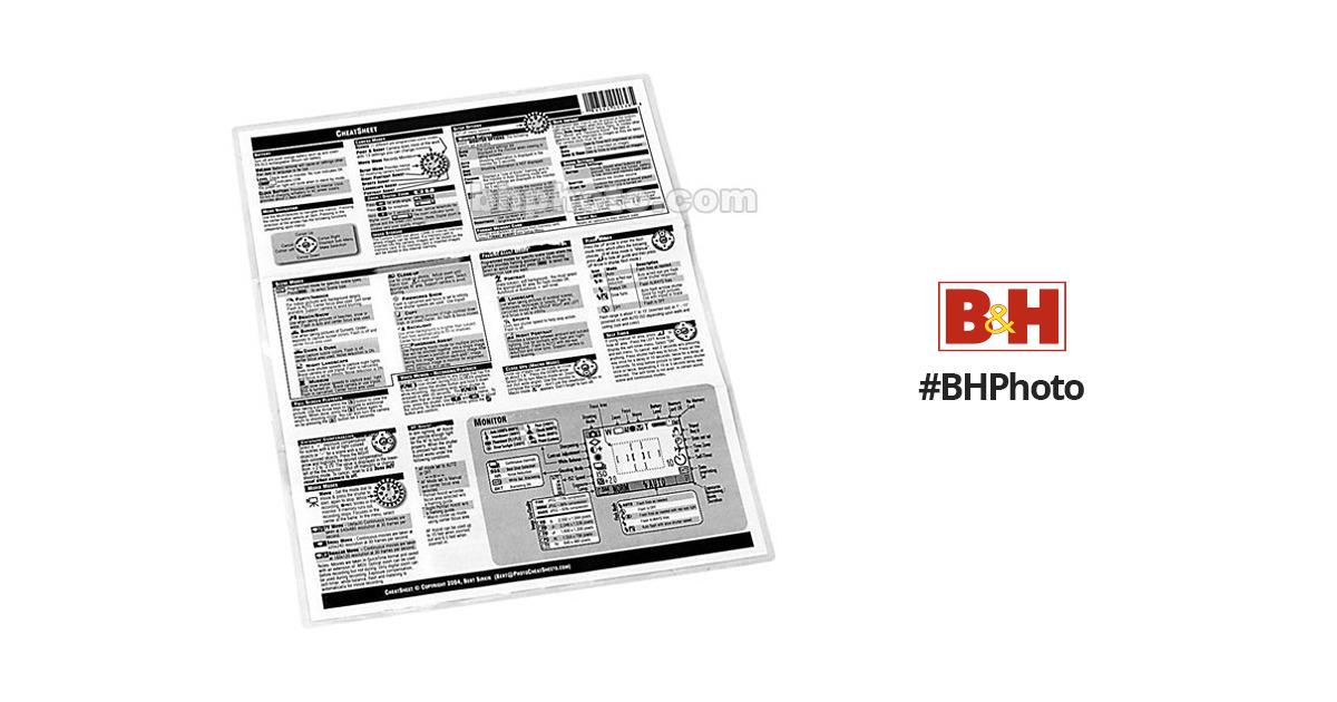 PhotoBert CheatSheet for Canon EOS 1D Mark II Digital SLR