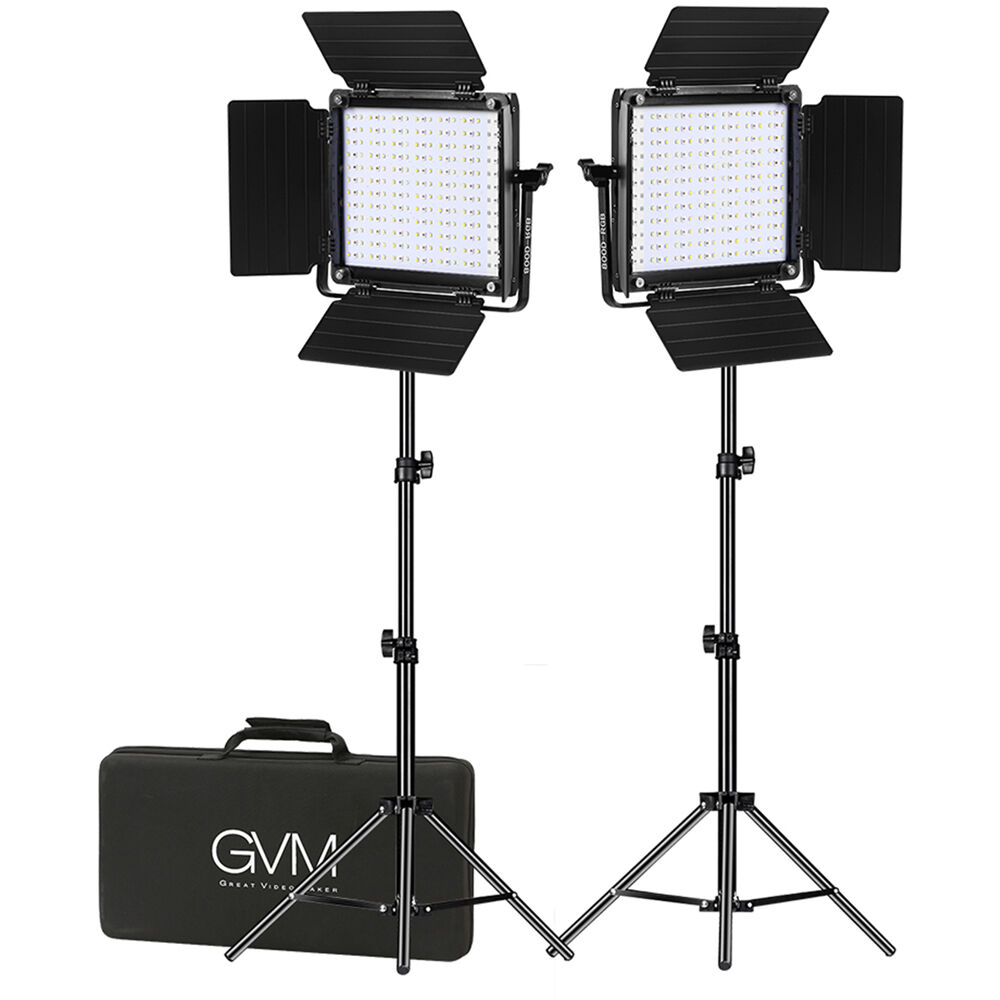 gvm 800d rgb led studio 2 video light kit