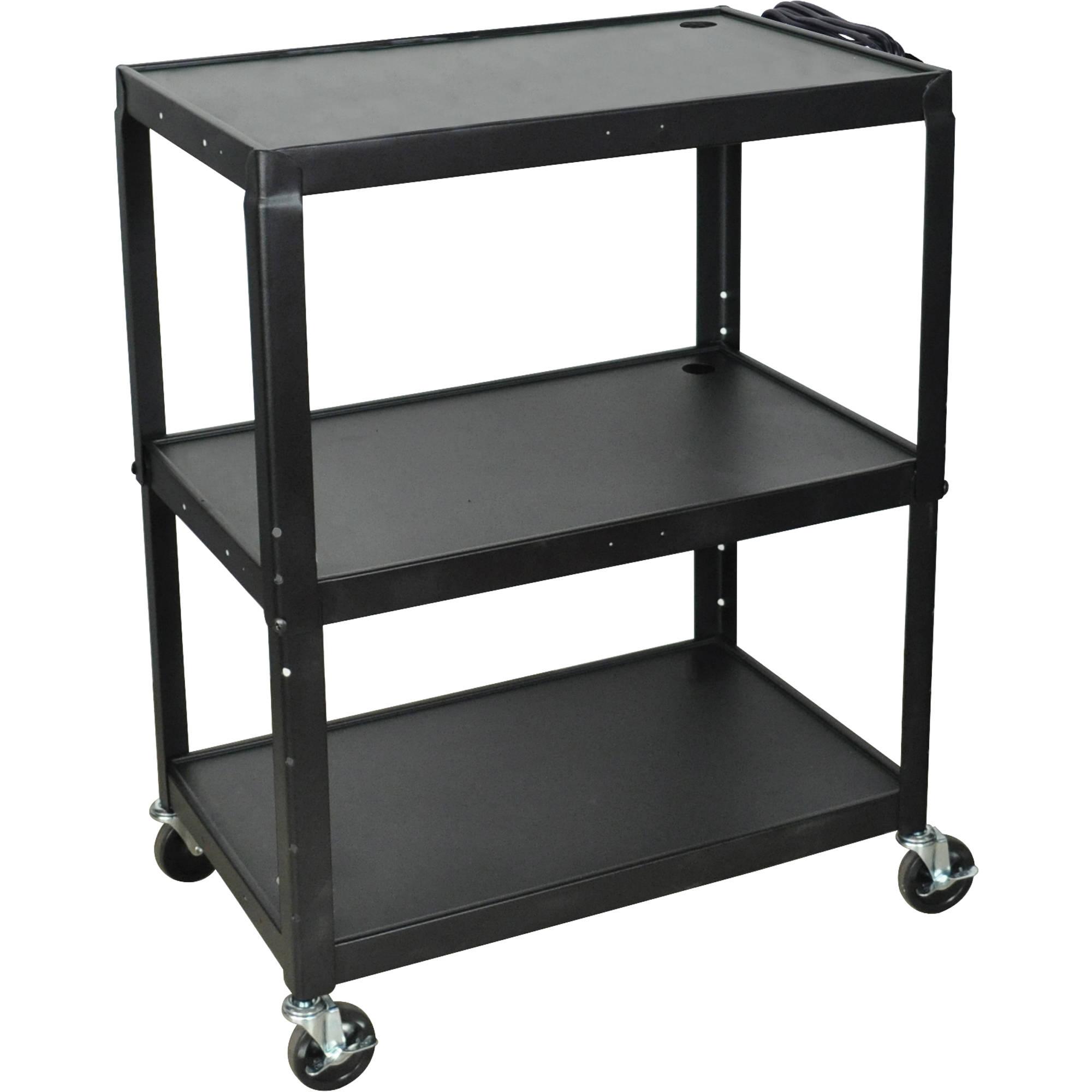 luxor avj42xl steel adjustable height extra large av cart black