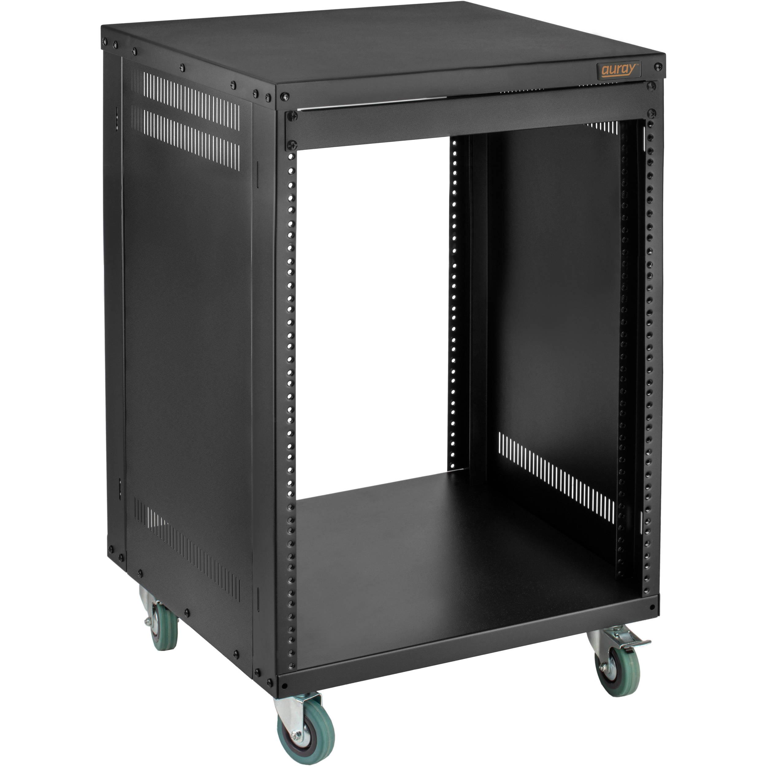 auray ers 12u steel equipment rack with 3 casters 12 ru