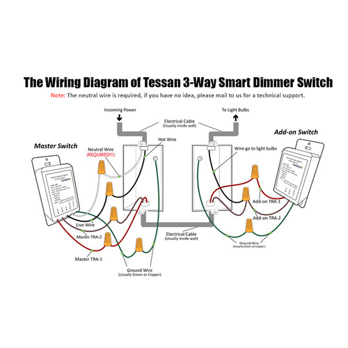 tessan std02 3way smart dimmer switch white