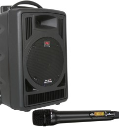 galaxy audio tv8 traveler series 120w pa system with cd player single uhf receiver and one wireless handheld microphone [ 2000 x 1904 Pixel ]