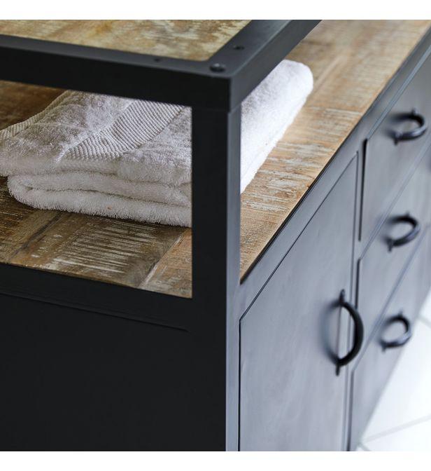 meuble salle de bain en metal et bois