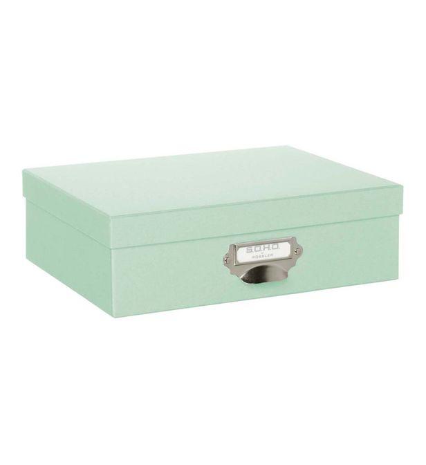 rangement avec couvercle carton vert a4