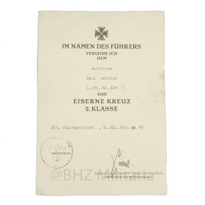 Award Certificate Iron Cross 2nd Class 1939 - Ernst Sieler