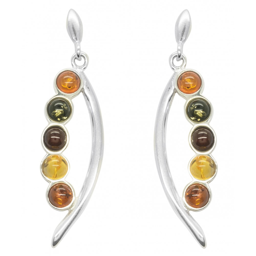 Ohrring Bernstein bunte Perlen und Silber 9251000