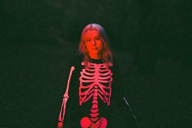 Phoebe Bridgers in a skeleton costume.