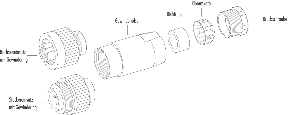 Cable plug connector with pinch ring, PG 13.5, VDE, UL and