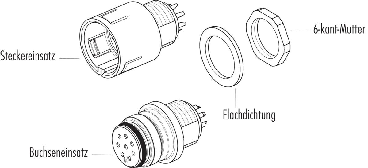 Male panel mount connector, lightgrey, solder termination