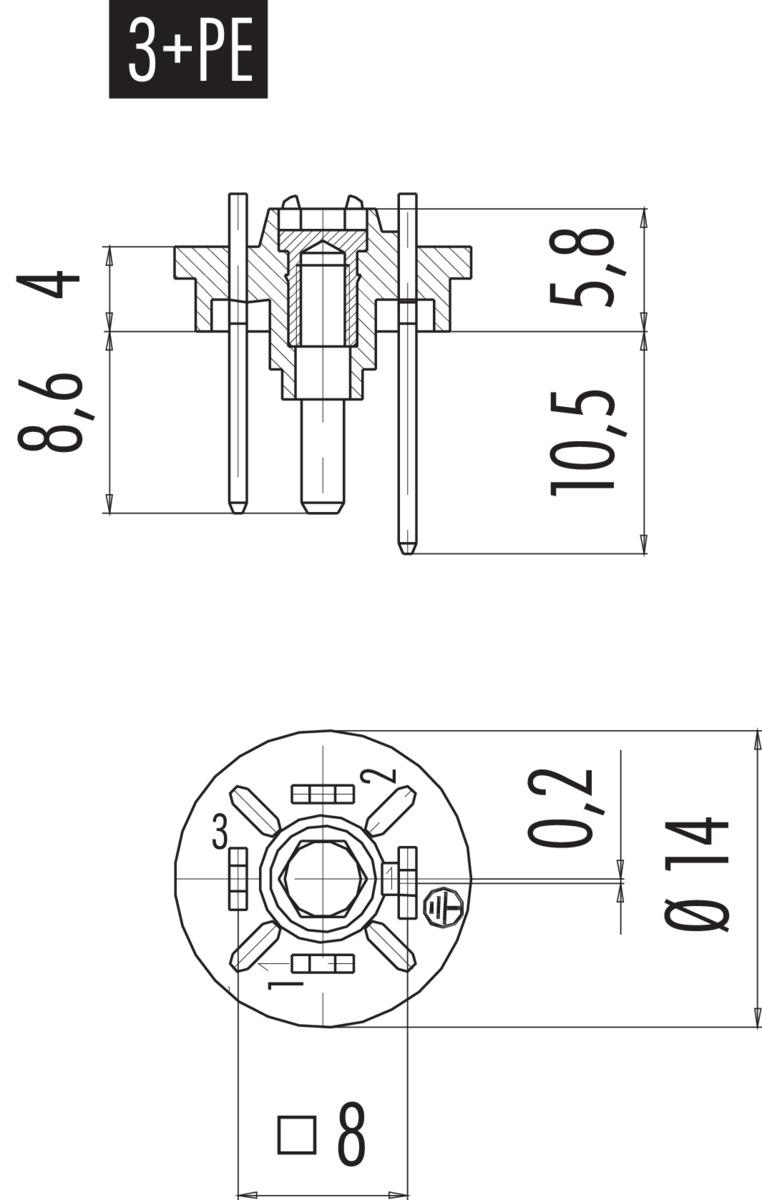 Male connector (panel mount) DIN EN 175301-803, 3+PE