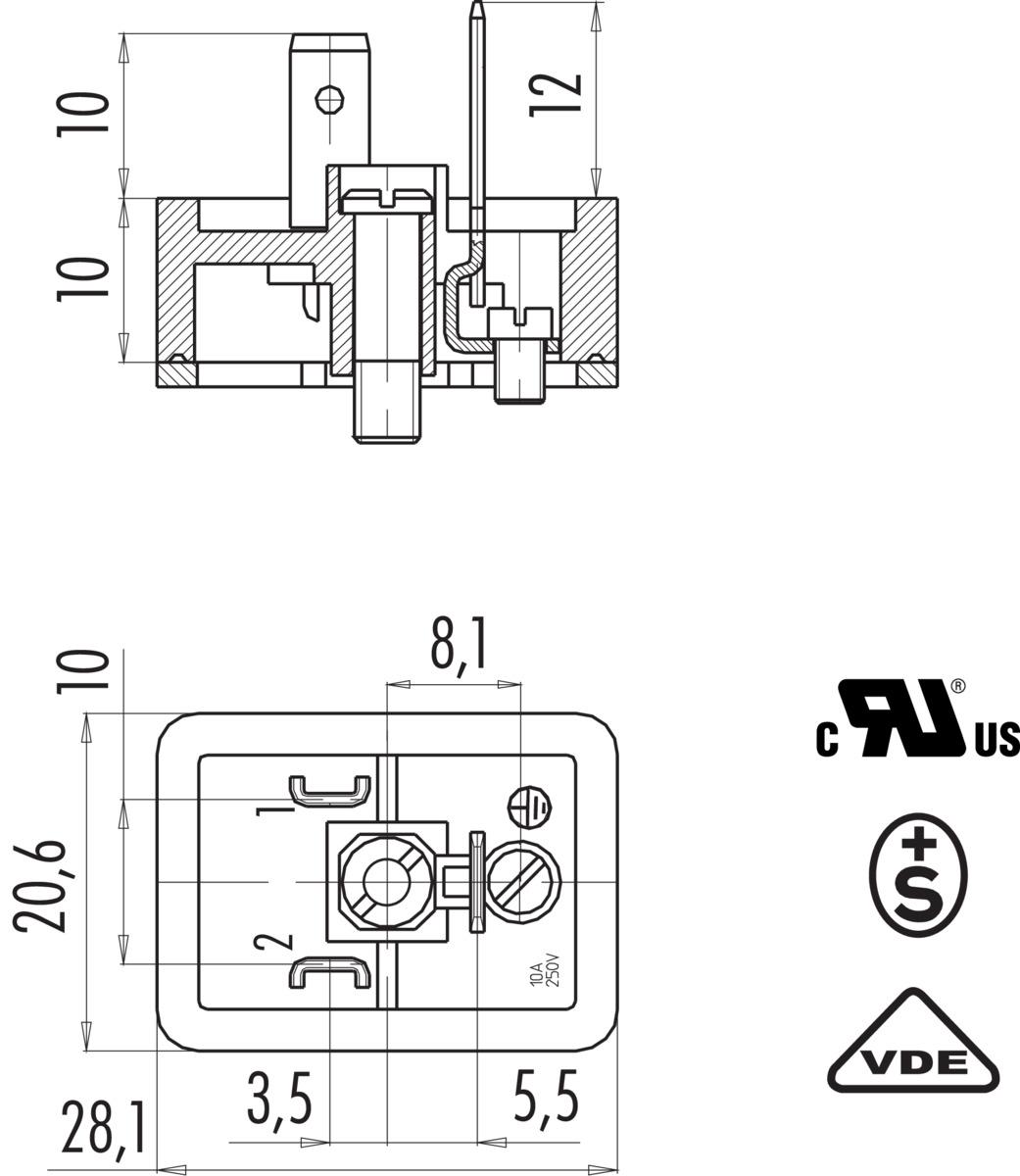 Male Power Connector Din En 803
